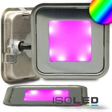 """LED Bodenstrahler """"SLIM-OUT"""", quadr., IP67, edelstahl, RGB / LED24-LED Shop"""
