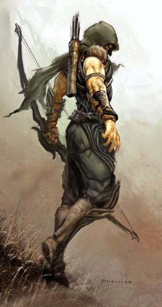 "Concept art from the early development of the Diablo III archer class. He was originally envisioned as a ranger type archer, and only slowly evolved into the [wiki]Demon Hunter[/wiki].<br /><br /><br />Artwork by [wiki]Phroilan Gardner[/wiki], ex-Blizzard artist. Images first seen at the Blizcon 2010 Gameplay Panel. High quality versions <a rel=""nofollow"" href=""http://phroilangardner.blogspot.com/2011/0..."