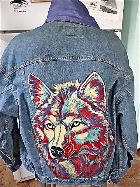 """Vintage Levi's Denim Hand Painted Jacket-Wolf 1980""""s Signed from westcoastpickers on Ruby Lane"""