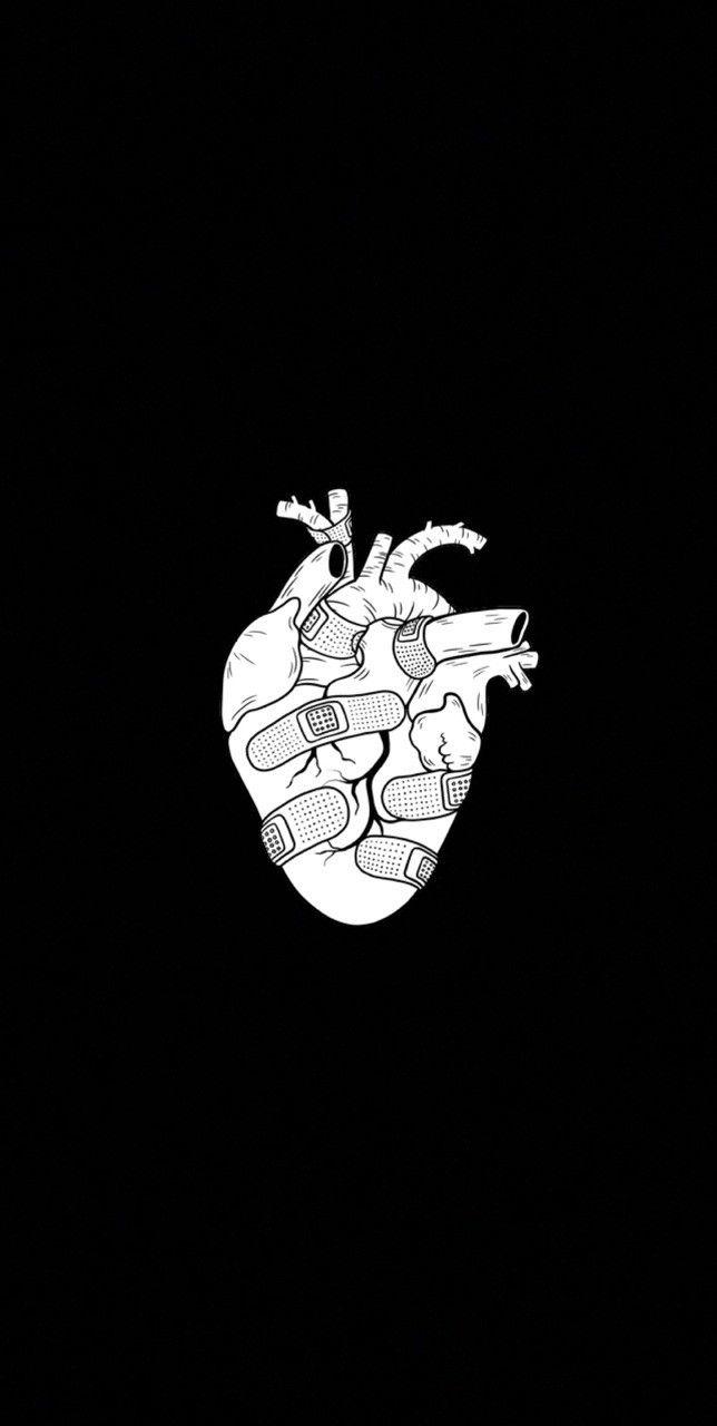 Heart B W En 2020 Fond D Ecran Telephone Dessin Noir Et Blanc Fond D Ecran Dessin