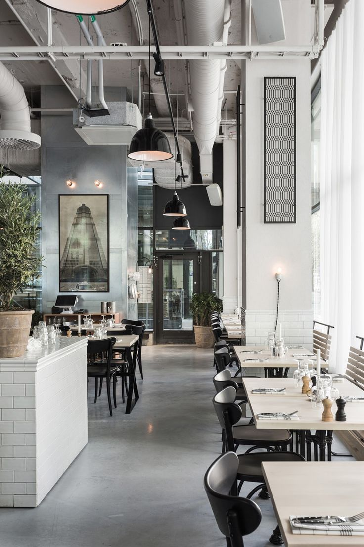 Usine  A restaurant, a bar and a café in Södermalm in central Stockholm., a new space furnished like a French­-Scandinavian bistro, with a mix of industrial design objects and touches of Art Deco.