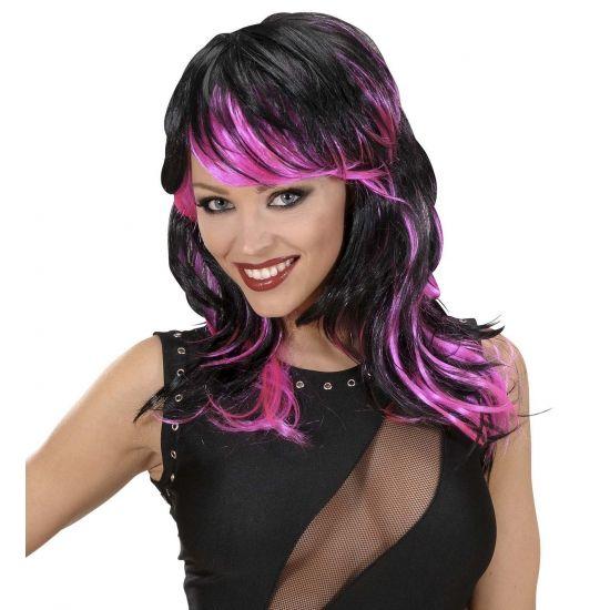 Halflange damespruik zwart met roze  Zwart met roze damespruik. Damespruik van zwart half lang haar met roze plukken. Deze roze met zwarte damespruik kunt u gebruiken bij bijvoorbeeld punk heks disco en seventies kostuums.  EUR 14.95  Meer informatie