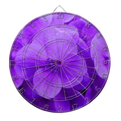Blue Violet Hydrangea Dartboard With Darts - purple floral style gifts flower flowers diy customize unique