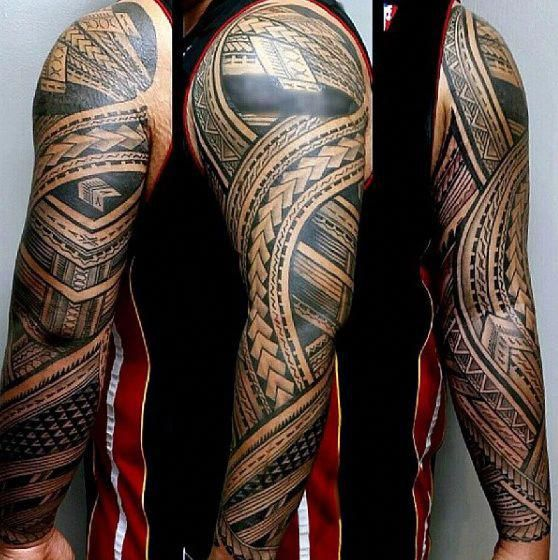 Creative Full Sleeve Tattoo With Samoan Tribal Design On Male Popularsleevetattos Samoan Tattoo Polynesian Tattoo Sleeve Polynesian Tattoo