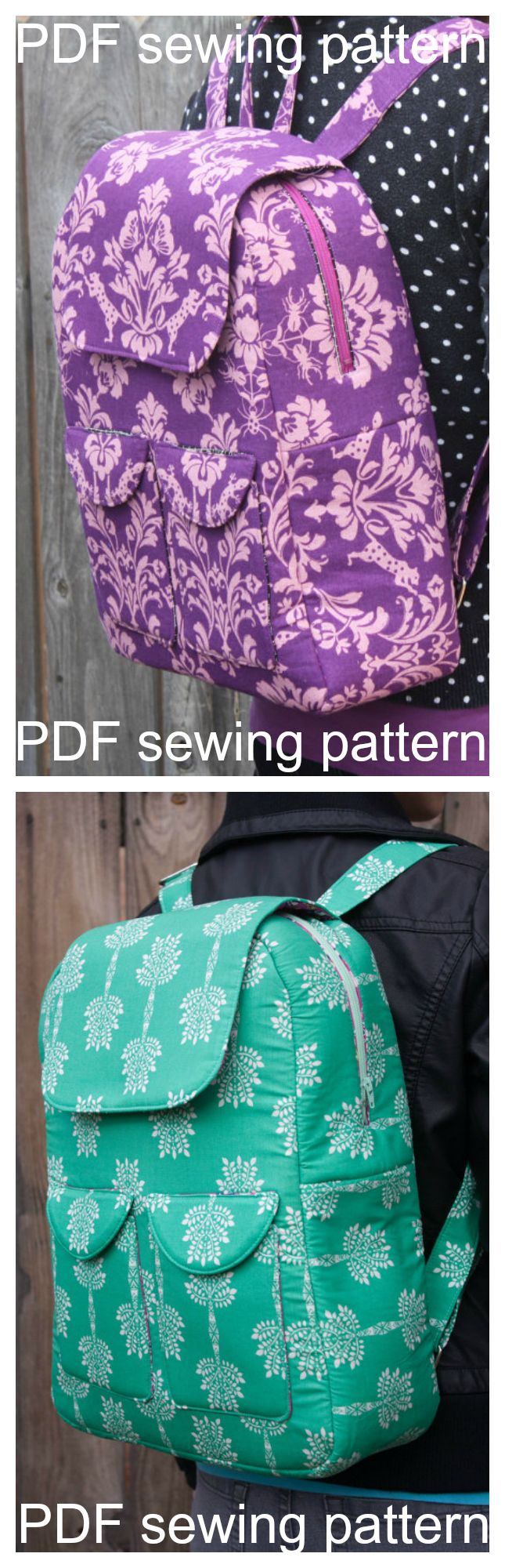 Here's the pdf sewing pattern for the Edelweiss Backpack. This fabulous bag can be made as either a backpack or a cross-body bag! There are pretty flap pockets on the front, as well as both a zip closure and flap at the top of the bag. With an inner zipper pocket, you'll have lots of places to store the essentials that you need to keep within easy reach!