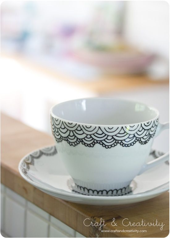 Handpainted cup and saucer - by Craft & Creativity #zentangle
