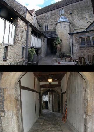 The George Inn: Courtyard;  Hotel passage to courtyard
