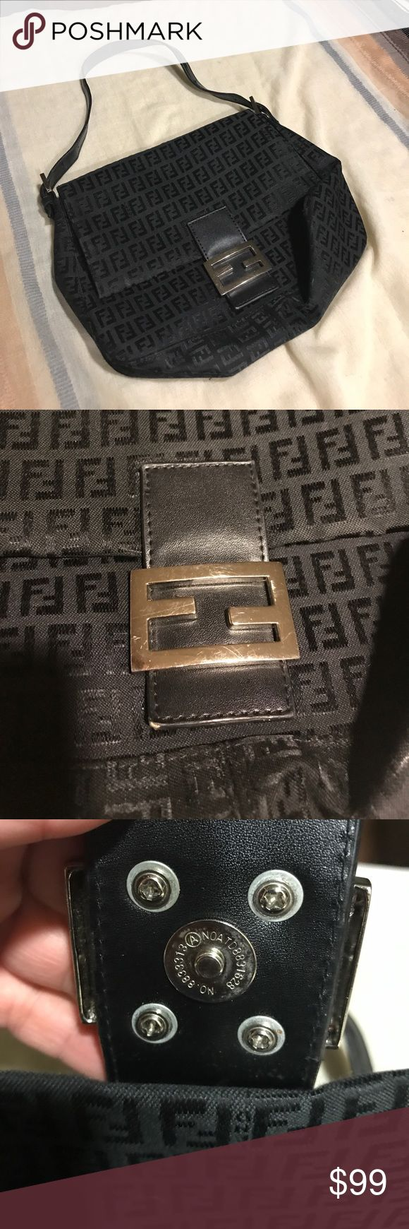 """Fendi Handbag Great condition. No tears outside or in lining. Strap has small signs of wear. 9"""" deep and 12"""" long. Olive green lining Fendi Bags"""