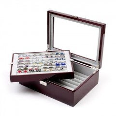 Great 72 pair cufflink box for the collector, double layer cufflink case, store all your cufflinks in style -  $159