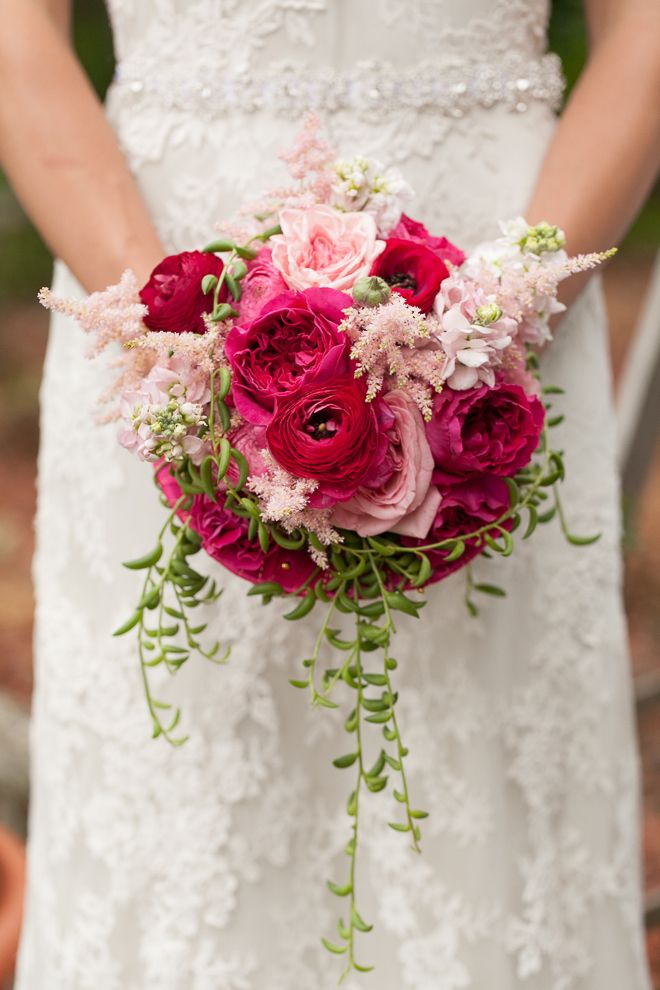 Whimsical garden wedding inspiration shoot gardens wedding and flower - Red garden rose bouquet ...