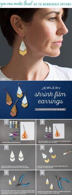 DIY Shrink Film Geometric Earrings - www.LiaGriffith.com #diyjewelry #diyearrings #diyshrinkfilm #shrinkfilmjewelry #shrinkfilmearrings