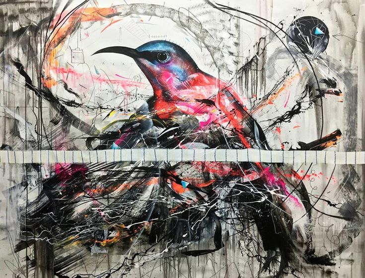 The street art creations of the Brazilian artist L7M, who features birds in bold, explosive and colorful compositions! Owls, ducks, sparrows or hummingbirds, L7M composes his creations with a nice mix of abstract and figurative techniques, and even uses real feathers to paint the smallest details. A clash full of contrasts between nature and the urban environment!