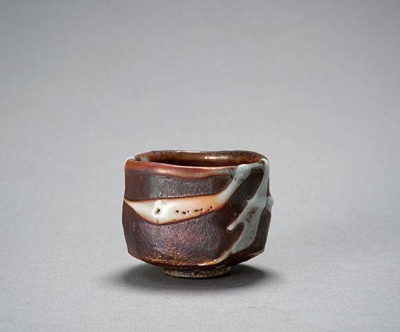 """KEN MATSUZAKI Yohen Shino Tea Bowl, Stoneware, 3 ¾ x 4 x 4"""" Pucker Gallery"""
