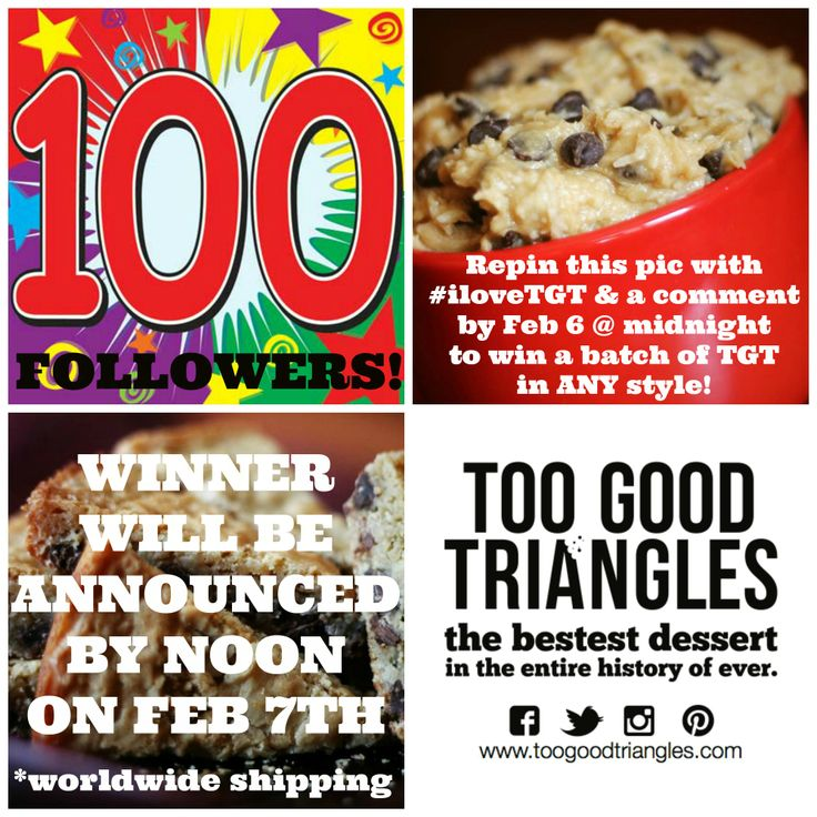 YIPPEE!! 100 FOLLOWERS!! You know what to do :) Repin this pic with #iloveTGT & a fun comment. Good luck! #vegan #classic #glutenfree #toogoodtriangles www.toogoodtriangles.com