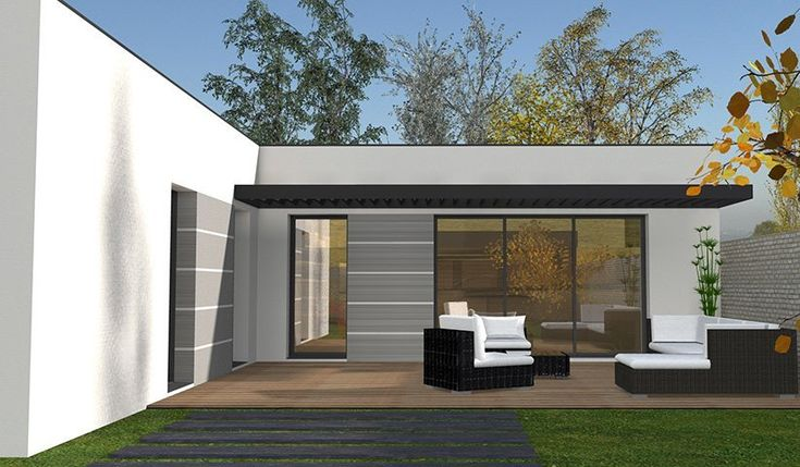Maison contemporaine de plain pied 111 m 4 chambres for Plans maisons contemporaines