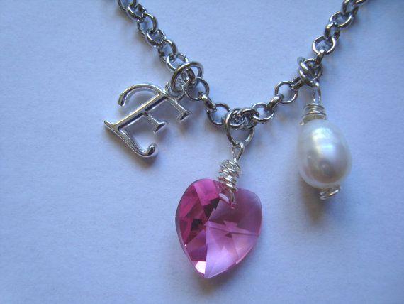 Personalized Jewelry  Swarovski Heart Necklace  by BiancasArt