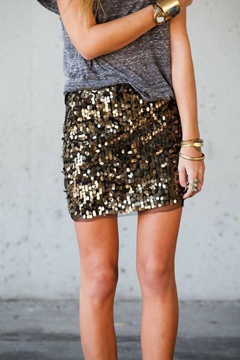 Metallic sequin skirt with grey simple tee.