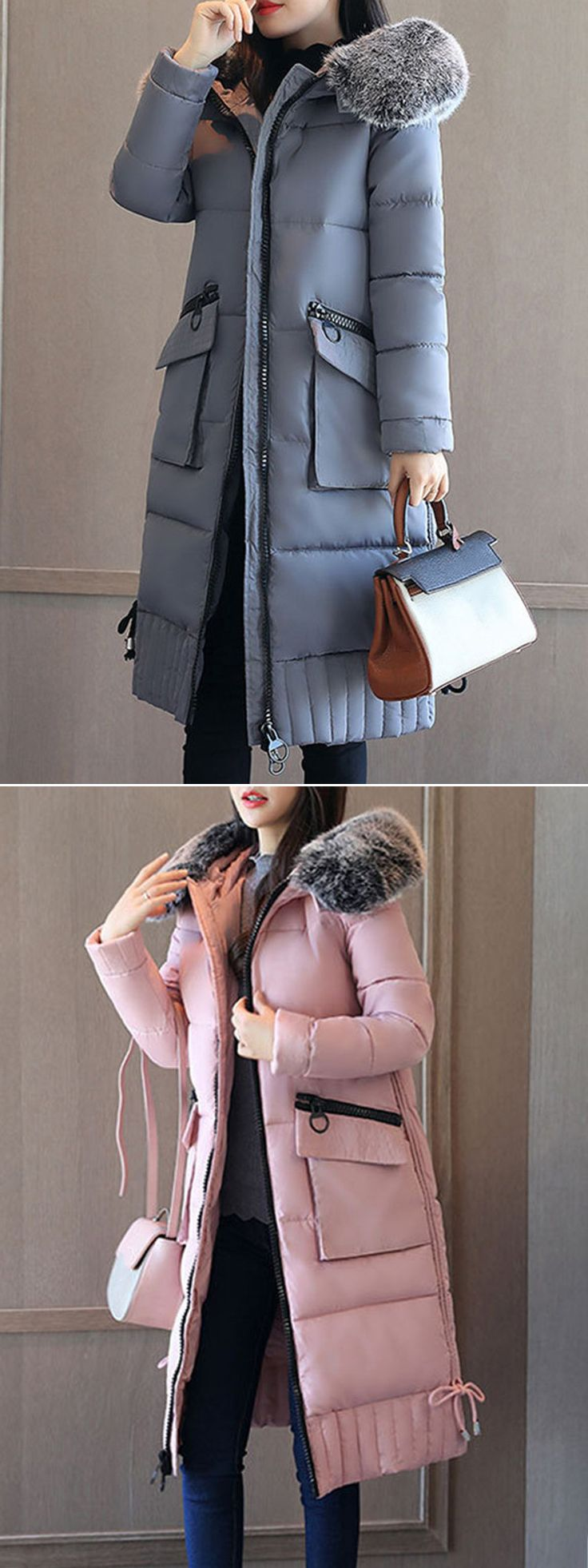 Elegant Pocket Long Sleeves Fur Collar Down Coats