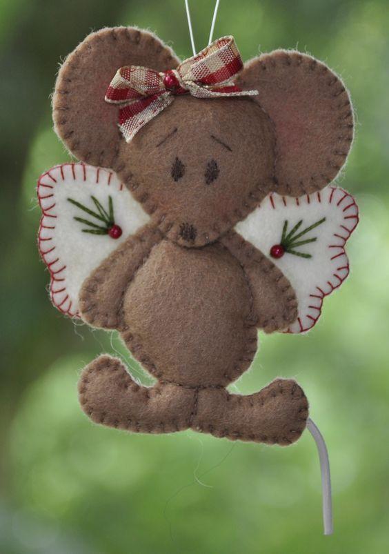 *FELT ART ~ An angel of a mouse [2 pieces] | Christmas | decorations | felt | handicraft | selfmake packets | Atelier Wilma Creative