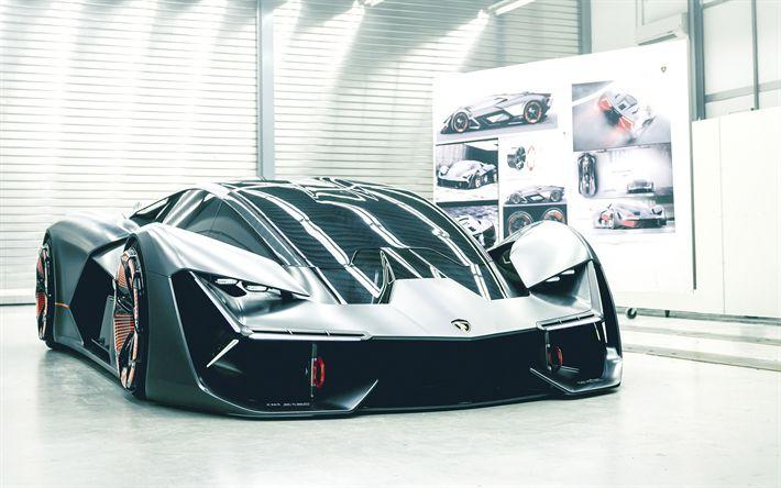 Herunterladen hintergrundbild lamborghini dritten jahrtausends, concept, 2017, front view, racing car, supersportwagen, german cars, lamborghini