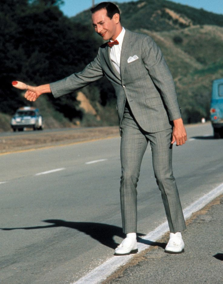 Pee Wee Herman and thumb hitchhiking