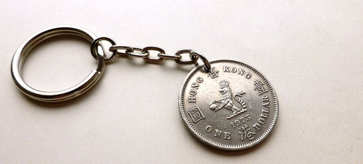 Hong Kong coin keychain, Chinese keychain, Oriental keychain, Asian charm, Vintage keychain, Accessories, Gift for him, Keychain, Coin, 1973 by CoinStories on Etsy