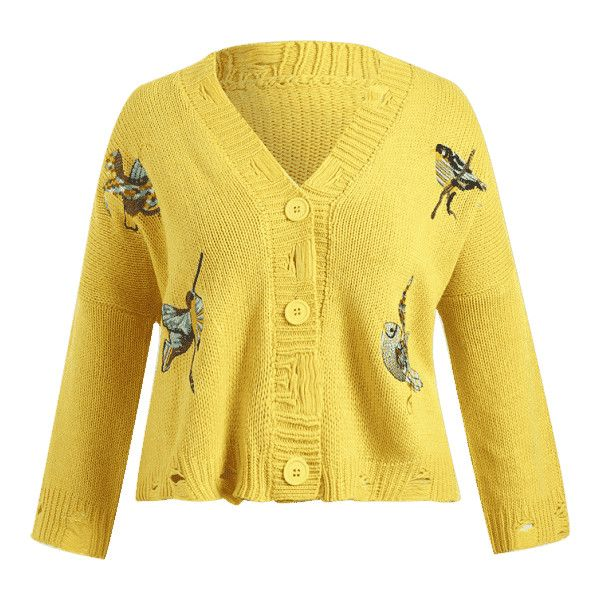 Chunky Distressed Embroidered Plus Size Cardigan Yellow ($28) ❤ liked on Polyvore featuring tops, cardigans, ripped tops, yellow top, plus size tops, women's plus size cardigans and embroidered top