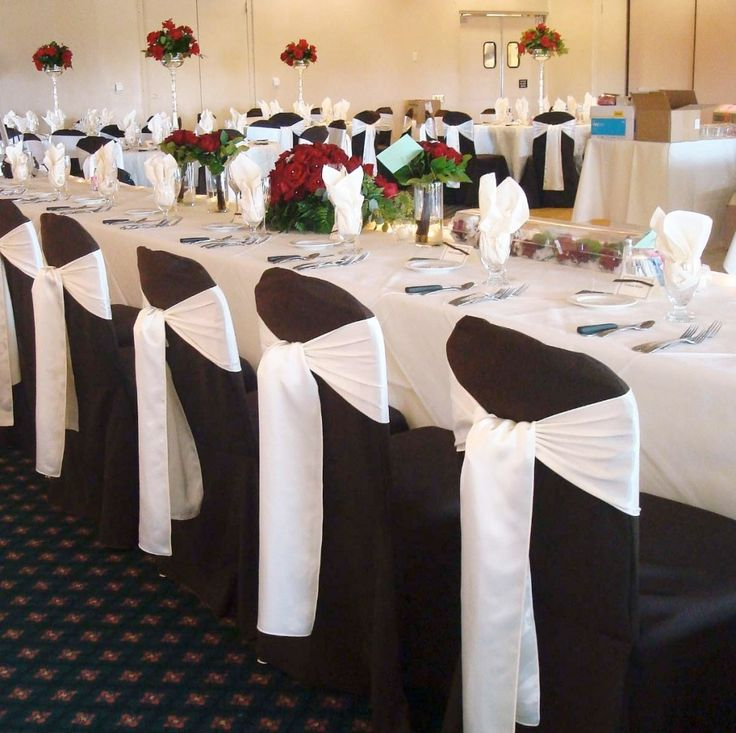 Red Table Cloth Black Chair Cover