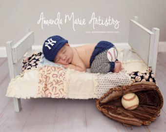 Baby Boy baseball set cap and pants newborn photo by LandyKnits