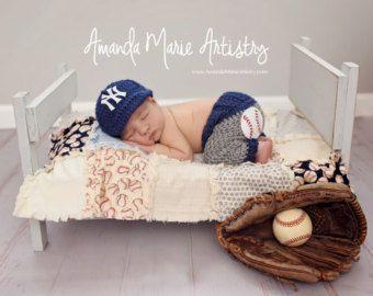 Baby Boy baseball set cap and pants newborn photo by LandyKnits
