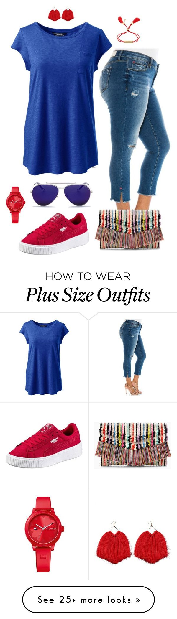 """Fun night- plus size"" by gchamama on Polyvore featuring Slink Jeans, Lands' End, Stella & Dot, Alexander McQueen, Tommy Hilfiger, Chloé and plus size clothing"