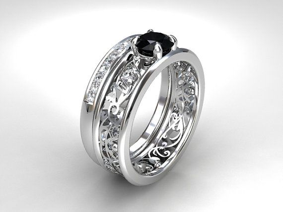 Black Diamond Engagement Set Filigree Ring Wedding Band Gothic Trinity