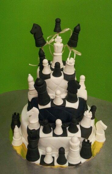 Chess figures cake