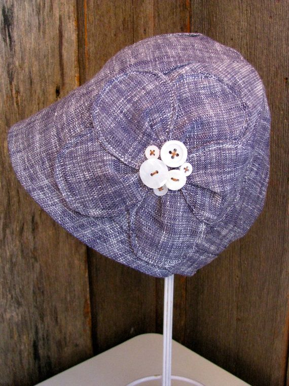 Navy & White Linen Cloche w Appliqued Flower Summer by sugarsoul, $65.00