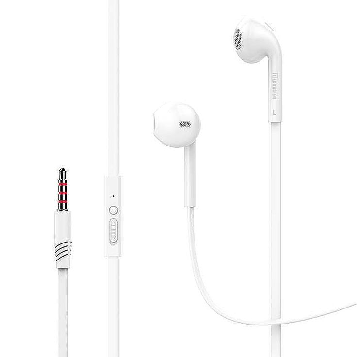 3.5mm Bass Stereo In Ear Earpiece Headset with Mic - White