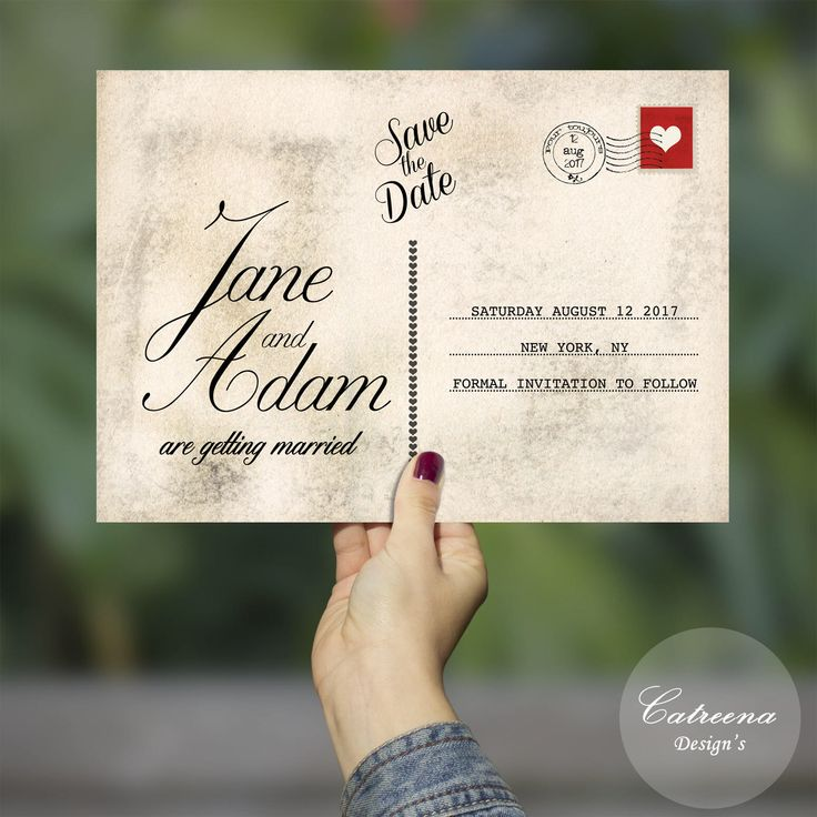 Digital Save the Date, Save the Date, Printable Save the Date, Post Card Save the Date, Vintage Post Card by CatreenaDesigns on Etsy https://www.etsy.com/listing/519986540/digital-save-the-date-save-the-date