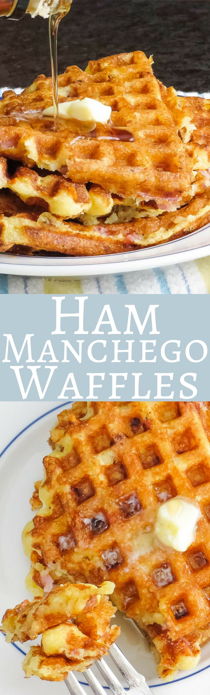 This recipe for savory waffles is the best!  Dotted with smoky ham, hearty cornmeal and savory Manchego cheese, they're great for a weekend breakfast!