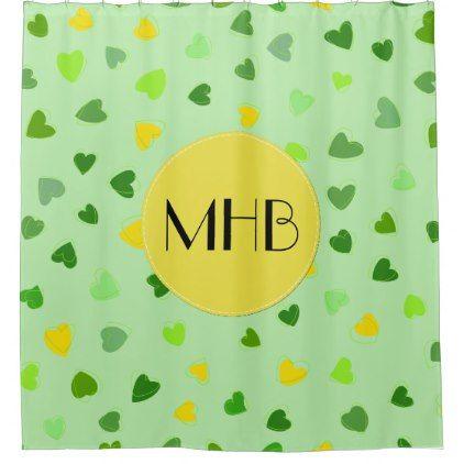 Monogram - Love Romance Hearts - Yellow Green Shower Curtain - shower curtains home decor custom idea personalize bathroom