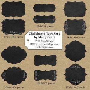 CU4CU - $1 Fancy Chalkboard Tags Set 1 by Marcy Coate
