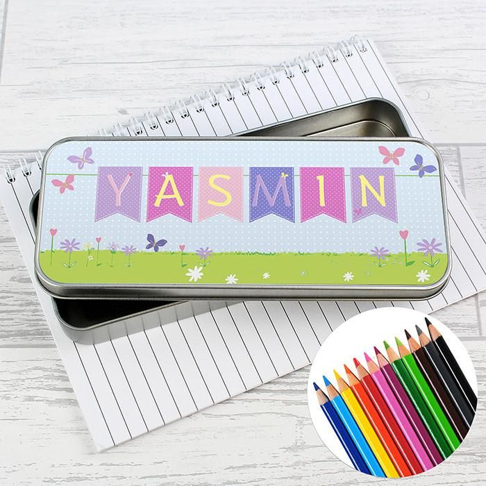 Bunting Design Personalised Pencil Tin & Coloured Pencils. https://harringtons-gift-store.co.uk/collections/back-to-school/products/bunting-design-personalised-pencil-tin-coloured-pencils
