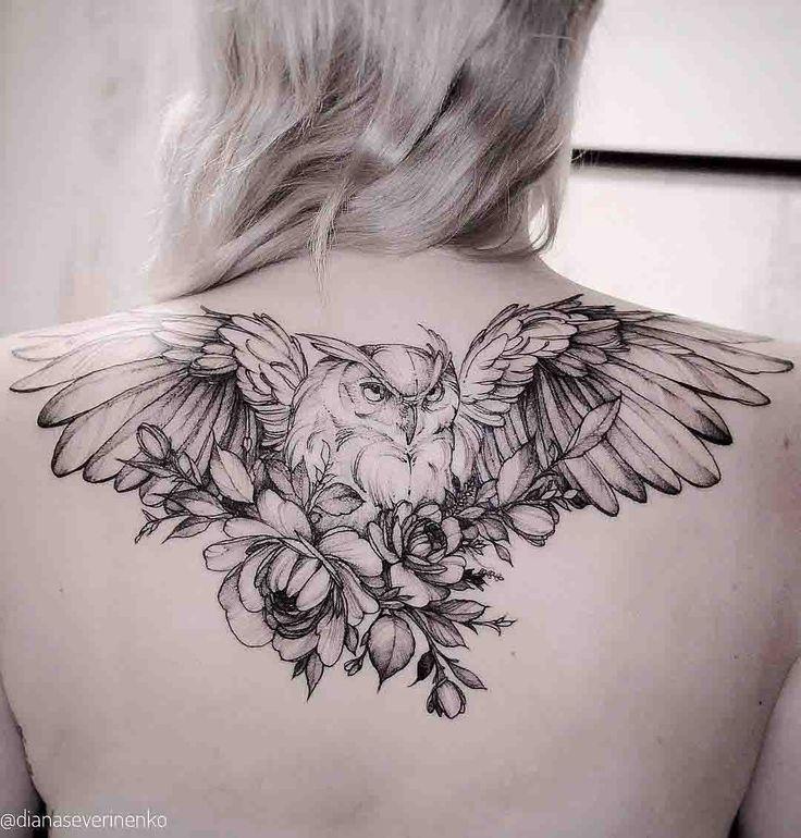 upper back owl tattoo