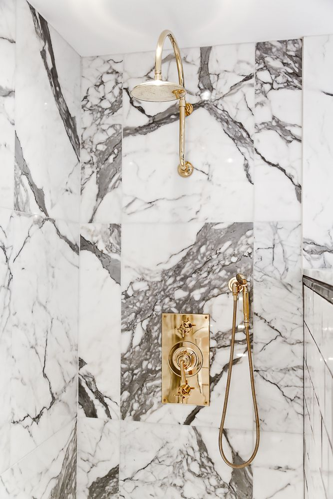 Waterworks Marble Shower with Unlacquered Brass Fittings