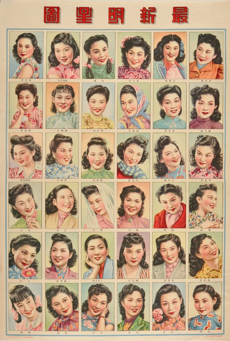 shanghai lifestyle vintage hairstyles fashion poster diagram beauty 30s 40s ?