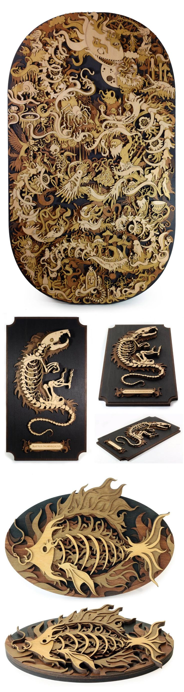 New Laser-Cut Wood Illustrations by Martin Tomsky