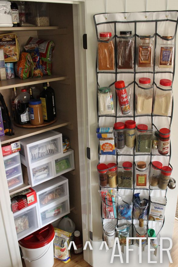 In this kitchen closet, the answer is as simple as adding a shoe organizer on the back of the door to hold spices and cooking essentials, plus a few plastic drawer units on shelves. See more at Pretty Providence »   - HouseBeautiful.com
