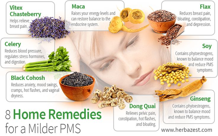 Some common PMS symptoms are mood swings, fatigue, difficulty concentrating, trouble sleeping, diarrhea, headache, acne flareups, and breast pain.  The following herbs have been used since ancient times to relieve PMS symptoms and promote wellness of the body and mind: http://www.herbazest.com/wellness_articles/8_home_remedies_for_a_milder_pms