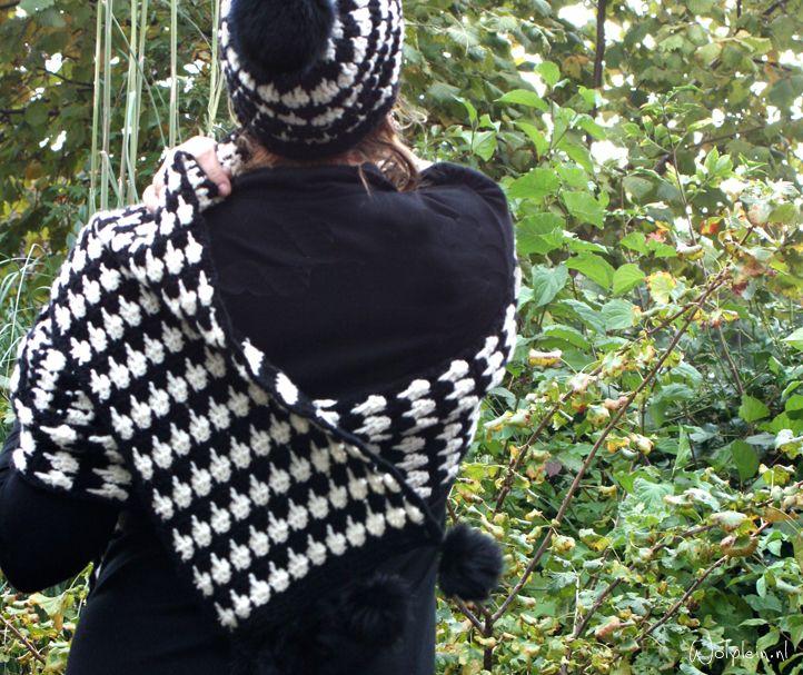 pied-de-poule-haaksteek, #haken, gratis patroon, muts + sjaal, Nederlands, wolplein