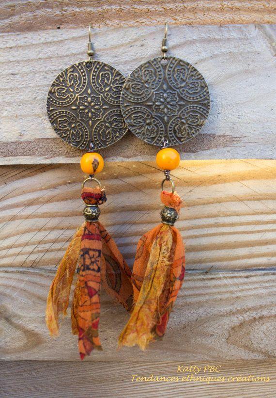 Boucles d'oreille ethnique soie Anandi par Tendancesethniques