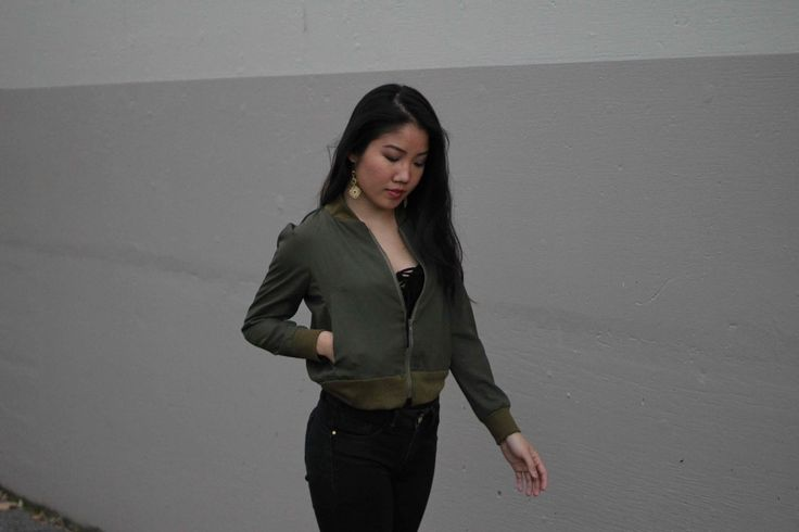 """Earrings by MagicTangoDesigns.com, bomber jacket by Ingrid """"That Sew Cute"""" www.thatsewcute.com"""
