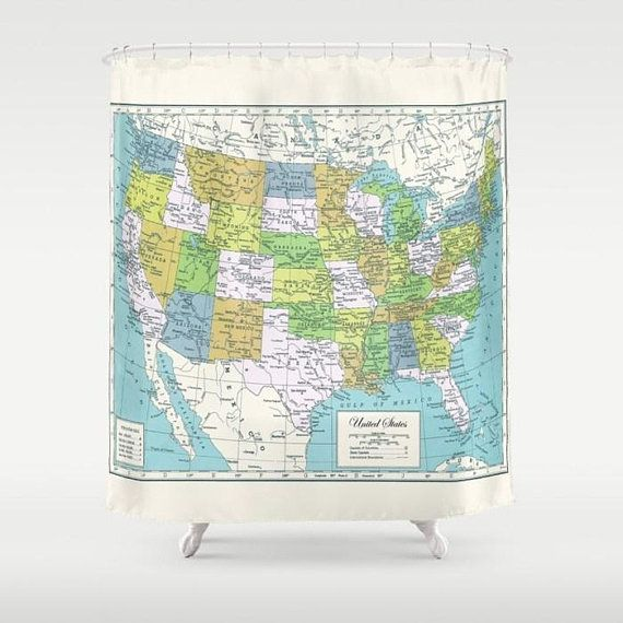 United States Map Shower Curtain Usa Fabric Travel Decor Home Bathroom Blue Green Cream Historical Map Fabric Curtains Usa Wet Rooms